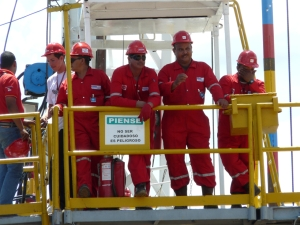 PDVSA workers on rig