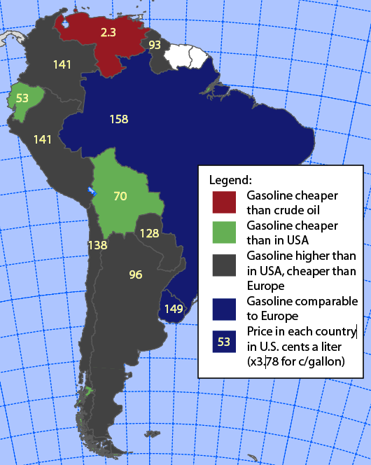 South America gasoline prices from GIZ