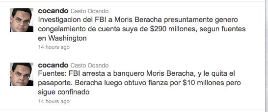casto ocando tweets about moris beracha