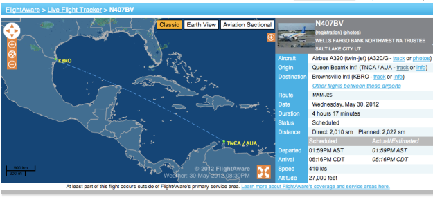 Fly Aruba N407BV returns to USA