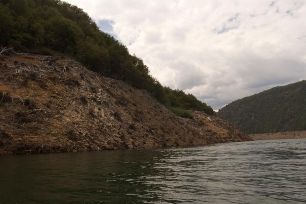 Lago Ralco, a power reservoir on the upper Bio Bio River in the IX Region-Araucanía, Chile.