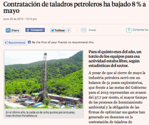 Oil drilling in Colombia falls 8%