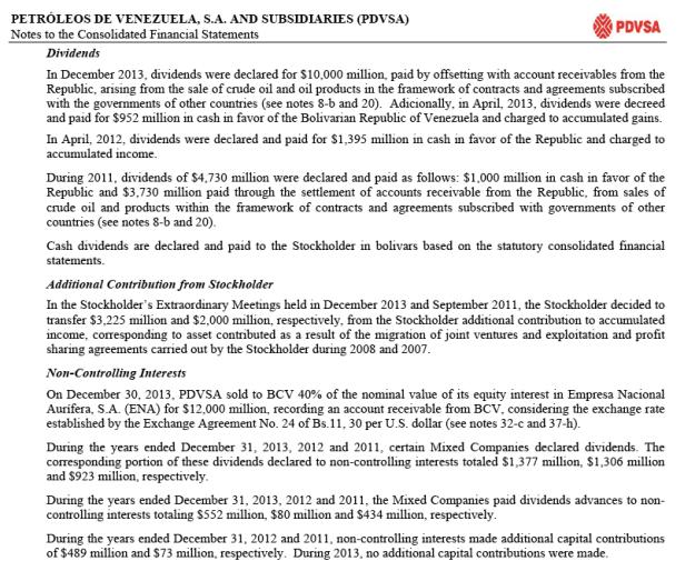 PDVSA Dividends 2013